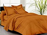 #10: Trance Home Linen 100 % Cotton Premium 210Tc Satin Stripes King Double Fitted Bedsheet with 2 Pillow Covers - Golden Brown
