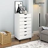 DEVAISE Hölzernen Kommoden/Rollcontainer / Schubladenschrank mit 7 Schubladen für Büro und zu Hause, Weiß