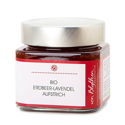 Bio Erdbeer-Lavendel-Fruchtaufstrich 300 g – Marmelade aus echten Veilchenblüten – Manufaktur...