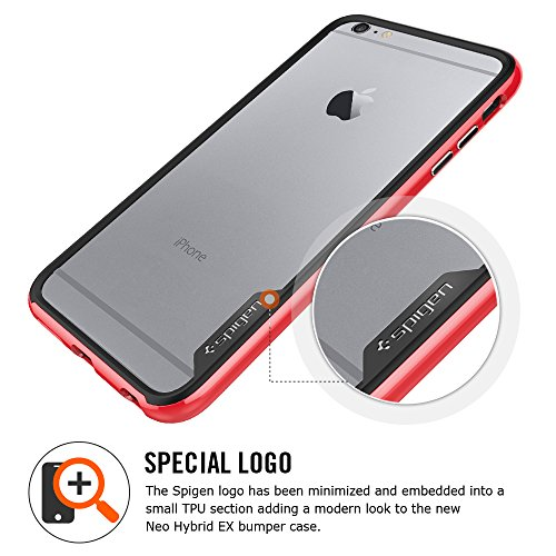 "Spigen Bumper iPhone 6 Plus (5,5"") [Bumper] Coque Bumper pour iPhone 6 Plus (5,5"") [Neo Hybrid EX] [Dante Red] Protection bumper double couche pour iPhone 6 Plus (2014) - Dante Red (SGP11058) Satin Argent"