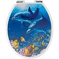 WC-Sitz Dekor 3-D Delfine | Toilettensitz | WC-Brille aus Holz | Soft-Close-Absenkautomatik | Metall-Scharnier   Fast-Fix-Schnellbefestigung