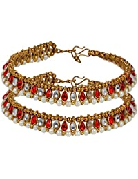 Prita's Red & White Pearl Gold Plated Partywear Adjustable Anklet Pair For Women