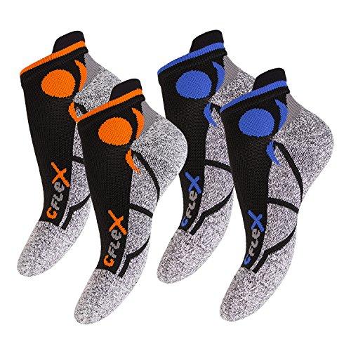 4 Paar Original CFLEX Running Sneaker Socks für Sie und Ihn - stoßabfedernd, schützend, unterstützend und klimatisiert - Größen 35-46 wählbar - Top Qualität von celodoro Schwarz/Mix