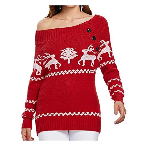 SEWORLD Vintage Weihnachten Damen Christmas Weihnachtsbaum Elch Drucken Skew Neck oder aus der Schulter Gestrickt Button Sweater Langarm Tops Pullover Sweatshirt Oberteile(X4-rot,EU-36/CN-M)