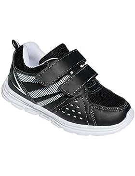 GIBRA® Kinder Sportschuhe, mit Klettverschluss, weiße Sohle, schwarz/weiß, Gr. 26-36