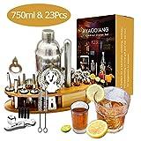AYAOQINAG Cocktail Mixing Set, 23 stuks Cocktail Shaker Set voor Bartender, 750ml RVS Bar Tool Kit met Houten Display Stand, Keuken en Bar Cocktail Making Set