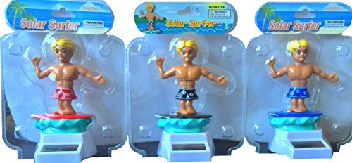 Solar Surfer Dude Pack of 3 the Complete Rare Hard to Find Solar Surfers No Batteries Needed by Momentum Brands