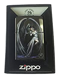 Zippo Custom Lighter - Ann Stokes Artist Grim Reaper w/ Lady Ebony Black
