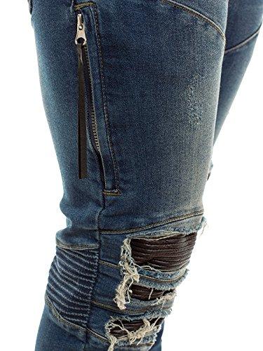 OZONEE Herren Hose Jeanshose Jogginghose Freizeithose Trainingshose Vintage Verwaschen OTANTIK 457 Blau
