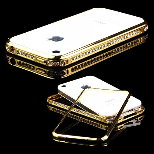 Urcover® Diamond Glitzer Bumper kompatibel mit Apple iPhone 4 / 4S, Strass Schutzhülle Handyhülle Alu Case Cover Schale Aluminium Schutz Rahmen Gold - 4s Aluminium Case Iphone Bumper