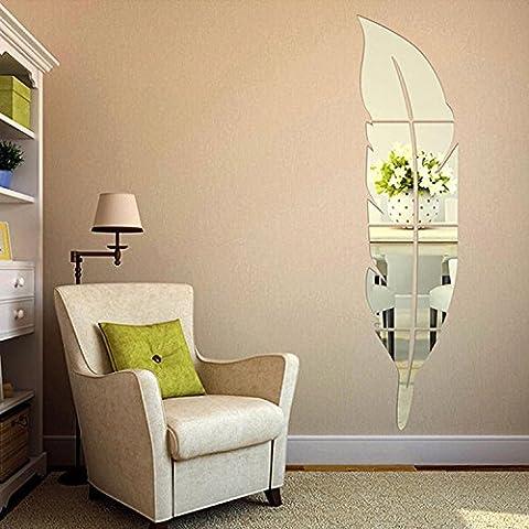 Soledi 3D Specchio Adesivo in Acrilico a Forma di Piuma Fai da Te Removibile Decorazione di Casa (120*30 cm, Argento)