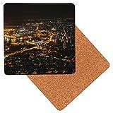 Mauricio Port Louis Noche Posavasos de madera de primera calidad - base de corcho - posavasos para bebidas - mesa de tapete - 95 x 95 mm (Pack of 4)