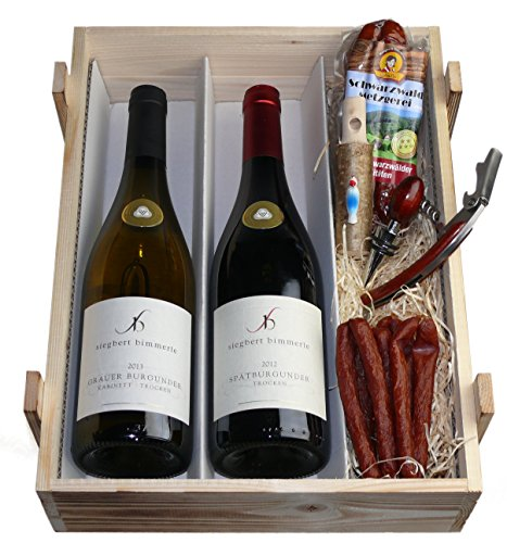 Schwarzwald Metzgerei: Badische Weinkiste - Rot- und Weißwein mit Sommelierset und Knabberwurst