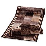 casa pura Teppich Läufer Braun Gemustert | Qualitätsprodukt aus Deutschland | Gut Siegel | Kombinierbar mit Stufenmatten | 3 Breiten und 27 Längen (67 x 200cm)