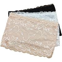 Tinksky Floral encaje elástico vestido ver a través de corpiño 3pcs femenino bandeau con relleno tubo con sujetador, regalo día de la madre o regalo para mujer - talla XL