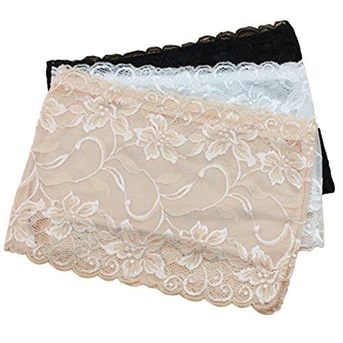 Tinksky 3pcs Frauen-Blumenspitze-Schlauch-Oberseite Stretchy trägerlose nicht-gepolsterte Bandeau-Oberseiten-Größe XL -