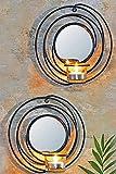 2er Set Dekorative Wandkerzenhalter für Teelichter Rund aus Metall für Teelichter mit Spiegel