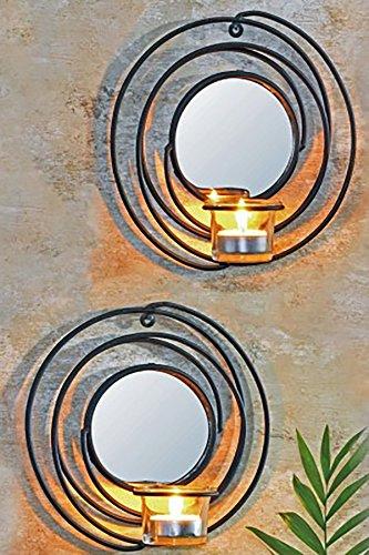 Teelicht Spiegel (2er Set Dekorative Wandkerzenhalter für Teelichter Rund aus Metall für Teelichter mit Spiegel)