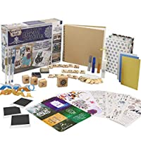 KreativeKraft Scrapbook Accessories Kit with Scrapbooking Supplies, Over 60 Creative Items Including Stickers, Glitter Glue Pens, Paper, Photo Album, Letters, Quotes, Embellishments, Gift for Her