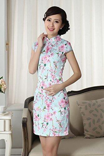 Bigood Robe Chinoise Femme Cheongsam Manche Courte Mariage Fleur Chic Style A