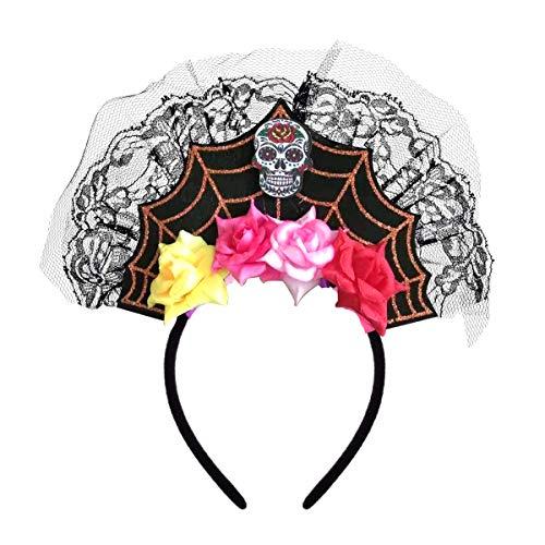 Frida Kostüm - Merroyal Haarband für Halloween, mit Spinnen-Totenkopf, Spitze, Frida Kahlo Day of The Dead Kostüm, Kopfbedeckung, Festival, Cosplay Gr. Einheitsgröße, Skull Cross
