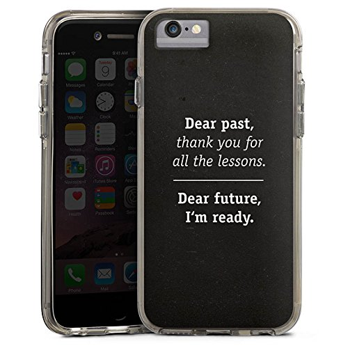 Apple iPhone 7 Bumper Hülle Bumper Case Glitzer Hülle Motivation Sprüche Phrases Bumper Case transparent grau