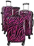 Kofferset Gepäckset Polycarbonat ABS Hartschalen Koffer 3tlg. Set Trolley Reisekoffer Reisetrolley Handgepäck Boardcase PM (Zebra Pink)