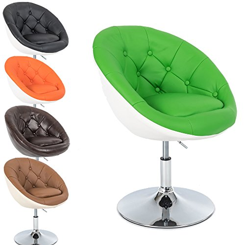 Promafit Lounge Sessel Gottfried - 2 farbig - Cocktailsessel - Barstuhl - Retro Drehstuhl - Chesterfield Look - höhenverstellbar - in Vielen Farben (Größe M: Grün - Weiß)