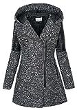 Warmer Damen Winter Wollmantel Melierter Woll Parka Jacke Kunstleder B270 [B270-Dunkelgrau-V1507-Gr.S]