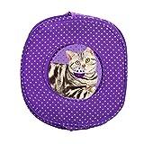 Jannyshop Katzenzelt Faltbare Hundekörbchen Pet Tent Outdoor/Indoor Höle Katzenspielzeug in Lila für kleine Hunde & Katzen