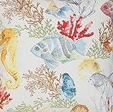 Fische und Korallen Designer Stoff, Coral Reef, Baumwolle,