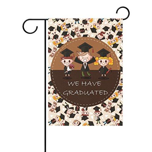 Duble Sided Wir haben Graduated Cartoon Studenten Graduation Konfetti Sommer Graduierung Tag hat Diplom Polyester HAUS/Garten Flagge Banner 12x 18/71,1x 101,6cm für Hochzeit Party alle Wetter, Gesponnenes Polyester, multi, 12x18