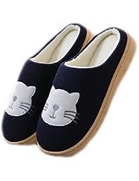 Auspicious beginning Unisex Comfort Plush Fleece forrado zapatos de casa Cute Cat impreso dormitorio zapatos