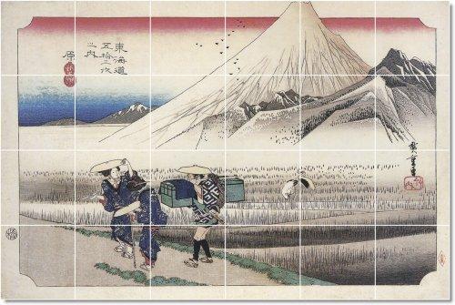 UTAGAWA HIROSHIGE UKIYO-E TILE MURAL COMERCIAL REMODELACION IDEAS  48X 182 88CM CON (24) 12X 12AZULEJOS DE CERAMICA