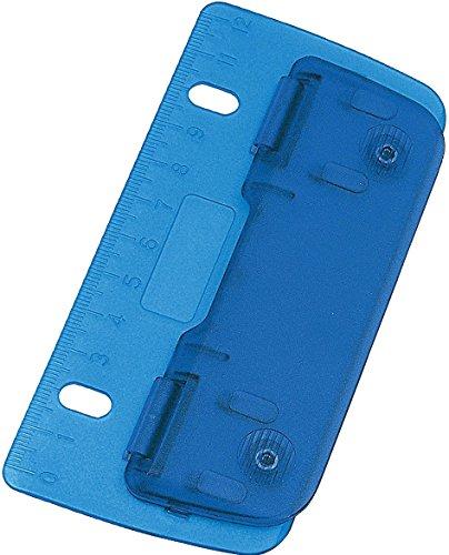 Wedo® Taschenlocher/mobiler 2fach-Locher aus Kunststoff mit 12-cm-Skala (1 Locher, blau)