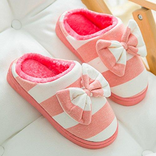 DogHaccd pantofole,Il cotone pantofole in autunno e inverno coppia femminile home caldo fondo spesso della camera bella confezione con eleganti pantofole scarpe inverno Anguria rosso