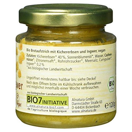 Alnatura Bio Brotaufstrich Kichererbse mit Ingwer, vegan, 6er Pack (6 x 120 g) - 5