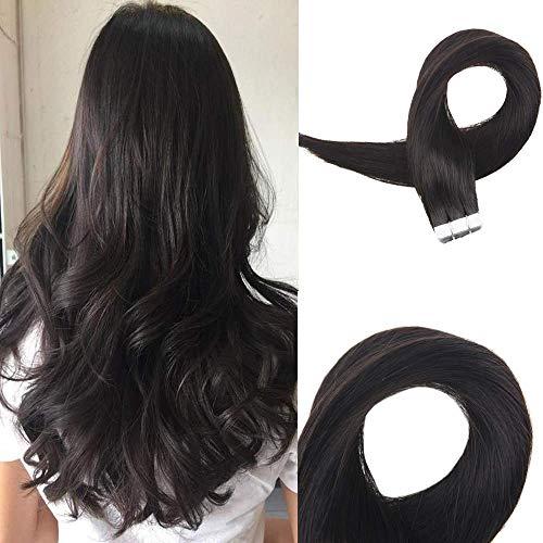Easyouth Skin Weft Professional Hair Extensions 50g 26 Zoll Farbe #1B Aus Schwarz Tape In Hair Band In Haarverlängerungen Glue In Real Hair Extensions (Tape In 26 Hair Zoll Extensions)