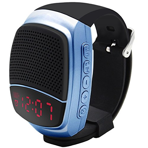Svpro Wireless Bluetooth Lautsprecher Armbanduhr Tragbare Sport Armband MP3-Musik-Player,Freisprechfunktion,Telefon-Anti-Verlorene,Karten-Unterstützung,Selbstanslöser,USB-Unterstützung (B90-Blau)