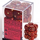 Chessex Dice d6 Sets: Scarab Scarlet with Gold - 16mm Six Sided Die (12) Block of Dice