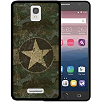 Funda Alcatel OneTouch Pop Star 4G LTE, WoowCase [ Alcatel OneTouch Pop Star 4G LTE ] Funda Silicona Gel Flexible Estrella Militar, Carcasa Case TPU Silicona - Negro