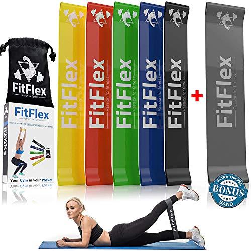 Set 6 fasce elastici fitness resistenza | allenamento bande elastiche multifunzione | sport palestra pesi attrezzi casa | uomo donna ginnastica crossfit pilates fisioterapia | elastico esercizi glutei
