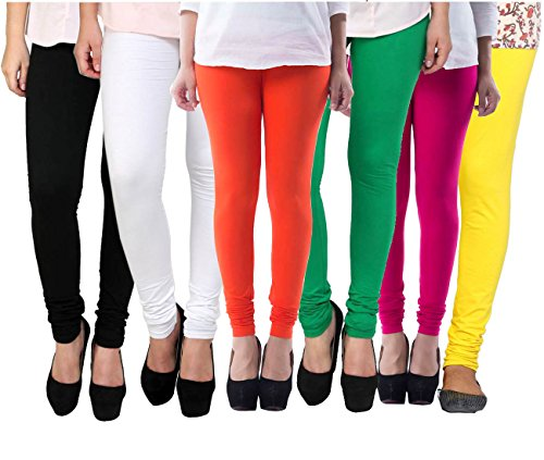 Pixie Women\'s Cotton Lycra 4 Way Stretchable Churidar Leggings Combo (Pack of 6) - Free Size