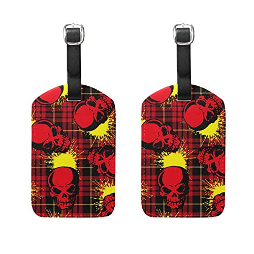 2 PCS Kofferanhänger Skull and Paint Suitcase Labels Travel Accessories