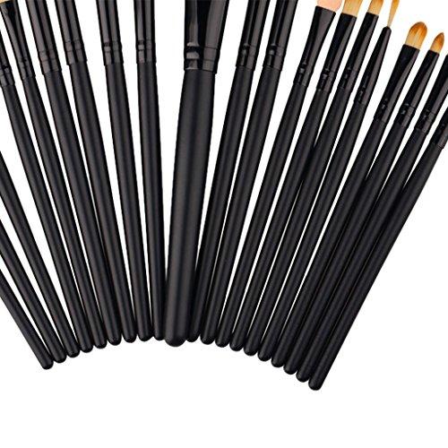 perfk 20pcs Pinceau Brosse Maquillage Professionnel pour Fond de Teint Contour Yeux Peinture Visage Correcteur Anti-cerne Eyeliner - Noir