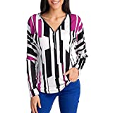 Lucky Mall Frauen Striped Printed V-Neck Zipper Bluse, Langärmlige Oberteile