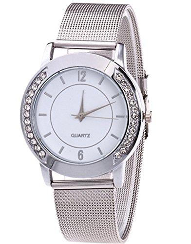 CLOOM Fashion Women Crystal Golden Stainless Steel Analog Quartz Wrist Watch Damen Uhr silber/Elegante Edelstahl Armbanduhr mit Strasssteinen Lady Elegante Luxusuhr Damen Armbanduhr (C)