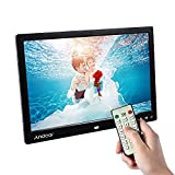 Andoer 13 LED Digital Photo Frame Album Écran 1080p 1280 * 800 HD SD Card Slot//7 Touch à distance Key soutien pour Play/14 Langue/Support de voiture Blanc