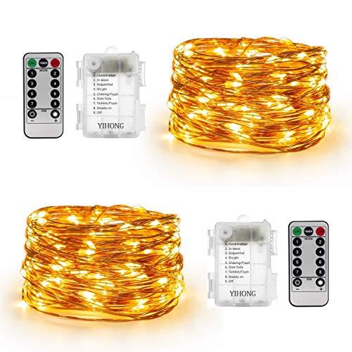YiHong 2 Stück Lichterkette Batterie 5M 50er LED Kupferdraht Wasserdicht Sternen mit Fernbedienung und Timer für Party, Garten, Weihnachten, Halloween, Hochzeit, Beleuchtung ()