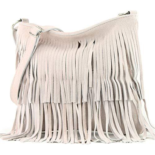 modamoda de - T125 - ital Schultertasche Fransen Wildleder, Farbe:Rosabeige hell -